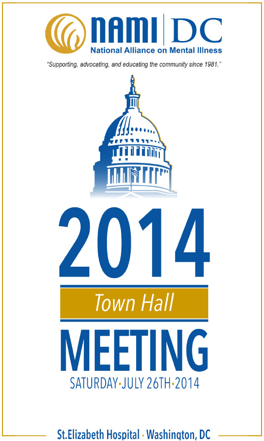 National Alliance on Mental Illness 4-page Town Hall Meeting Program 5.5x8.5in cover - 535x893