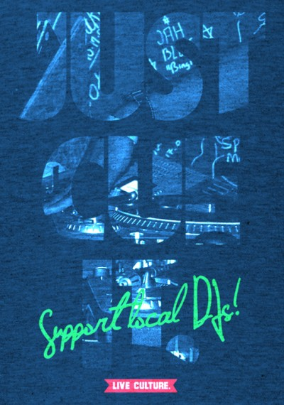 Drive & Ambition Just Cue It T-shirt support local djs heather blue 490x699