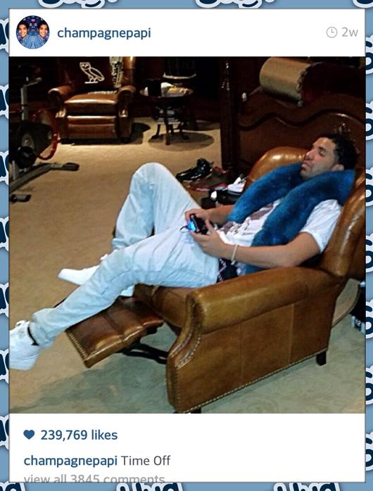 Rapper DRAKE wearing a SleepHug Pillow on Instagram 530x698
