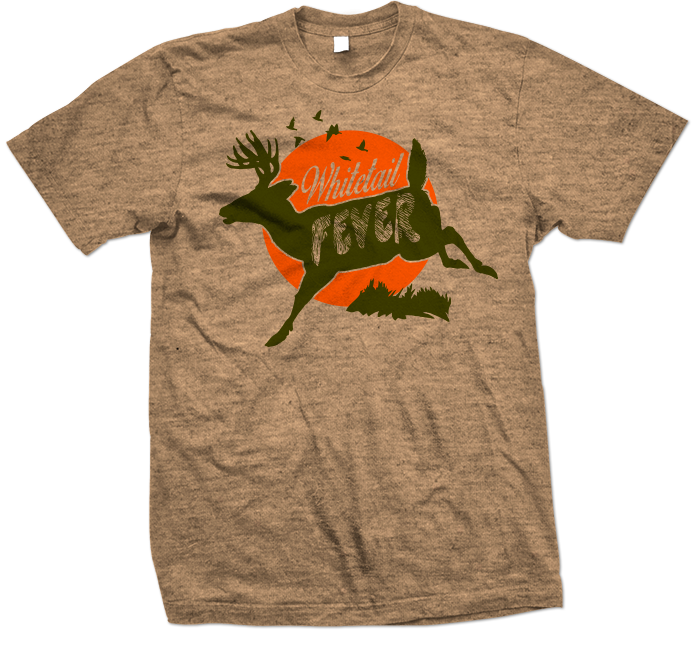 Whitetail Fever Outdoors Hunting Heather Green T-shirt 695x645
