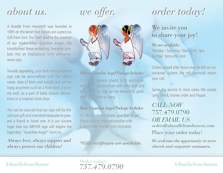 A Bundle From Heaven® Informational 3-Panel Brochure Panels 750x583