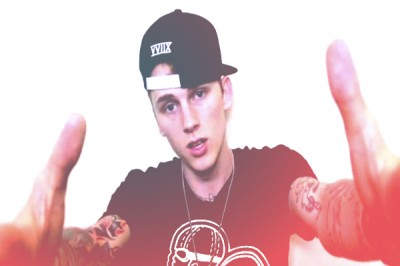 Machine Gun Kelly wearing Black Drive & Ambition Logo T-Shirt 600x400