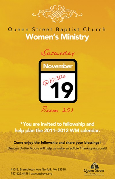 Queen Street Baptist Church Women's Ministry Meeting Flyer 550x851