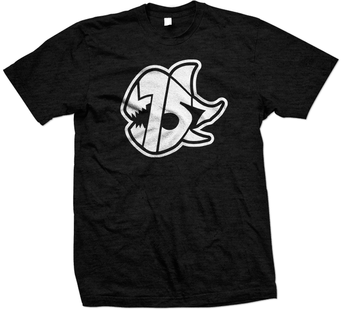 Seven Sharks Logo T-Shirt  Black White 695x645