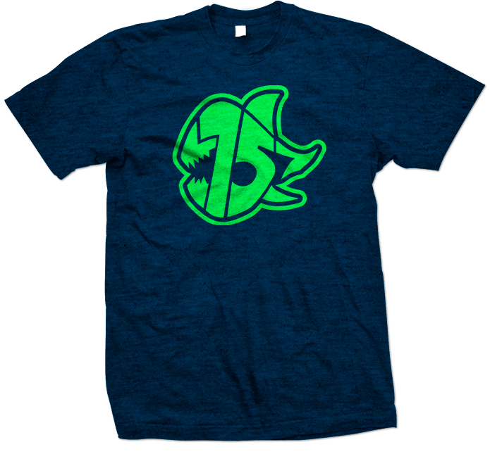 Seven Sharks Logo T-Shirt Heather Blue Neon Green 695x645
