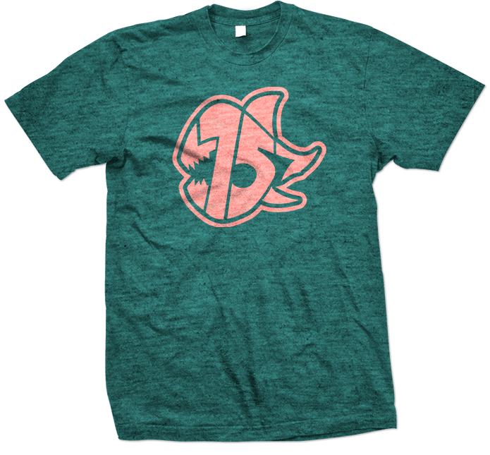 Seven Sharks Logo T-Shirt Heather Teal Peach 695x645