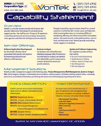 VonTek Capabilities Statement 8.5x11 Leaflet 550x683
