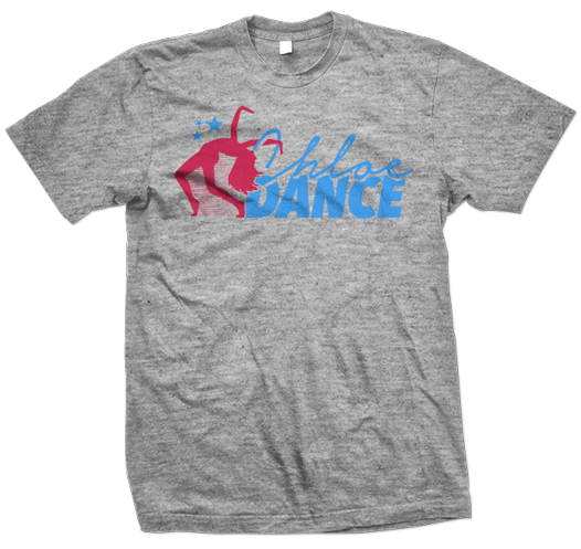 chloe dance dancer logo grey heather t-shirt design 526x497