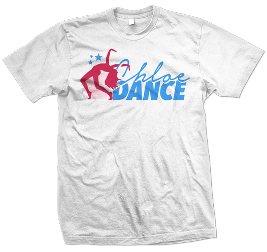 chloe dance dancer logo wjite t-shirt design 526x497