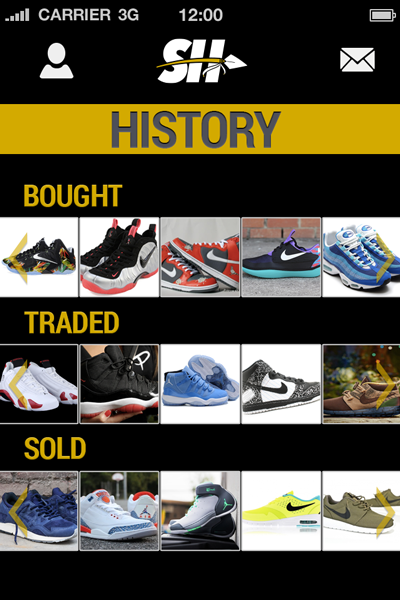 Sole Hunt Sneaker App History Screen User Interface 400x600