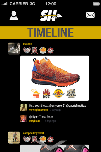 Sole Hunt Sneaker App Timeline Screen User Interface 400x600
