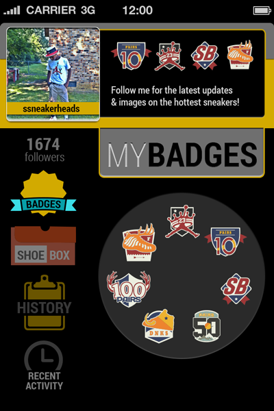 Sole Hunt Sneaker App Badges Screen User Interface 400x600