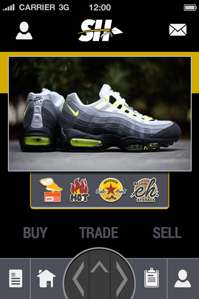 Sole Hunt Sneaker App Market Screen User Interface 400x600