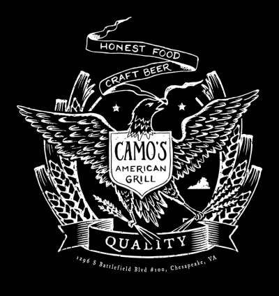 camo's american grill tshirt eagle craft beer 750x795